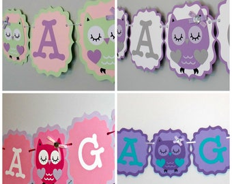 Owl Baby Shower/Baby Girl Owl Birthday Banner / It's a Girl Banner/Girl Owl Banner/ Owl Banner/ Girl Owl Party Supplies / Purple Teal Owl