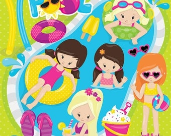 80% OFF SALE Pool party girls clipart commercial use, kids vector graphics, vacation kids digital clip art, digital images  - CL858