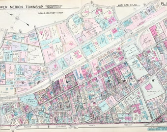 Bryn Mawr 1937 Main Line Property Atlas Map Of Lower Merion Township Montgomery County Pennsylvania