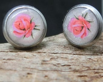 Pink Rose Stud Earrings HYPOALLERGENIC clay & resin