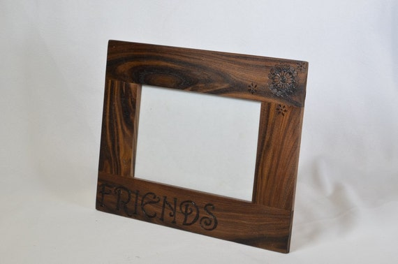 "5""x7"" Wood Burned Frame ""Friends"""