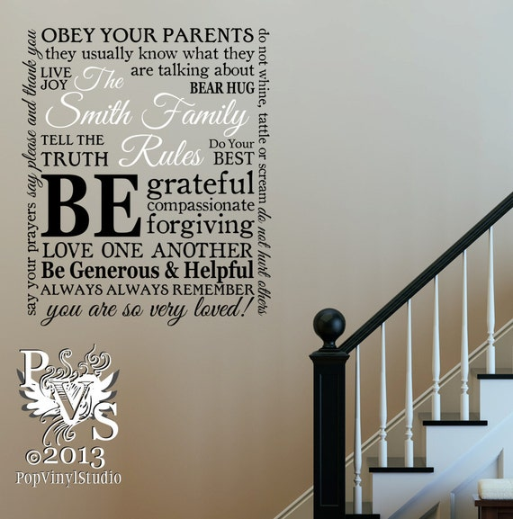 Items similar to Personalized Family Rules Wall Decal by Pop Vinyl Studio on Etsy & Items similar to Personalized Family Rules Wall Decal by Pop Vinyl ...
