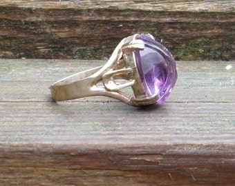 Handmade Oval carved Huge Amethyst  Sterling Silver Ring