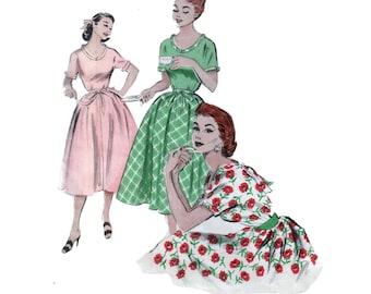 50s Full Skirt Dress pattern Elastic Waist Dress pattern Morning Dress pattern Circle Skirt Dress pattern vintage 30-25-33 Butterick 6750