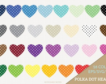 Hearts Vector, Heart Clipart,  Heart SVG, Valentine's Day Printable, Love Print and Cut, Polka Dot Heart, Patterned Heart SVG (Design 11613)