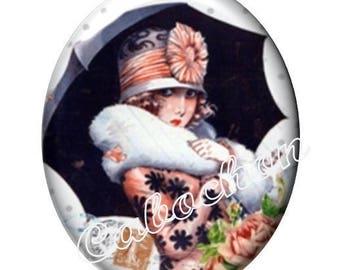 1 cabochon 30mm x 40mm glass, Dame de Paris, vintage, umbrella, miss