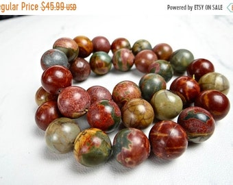 Memorial Day Sale--- Red Creek jasper smooth round nugget beads/10mm/7.5 inch strand