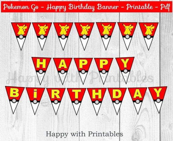 Pokemon Go Happy Birthday Banner Pokemon Banner Pokemon Go