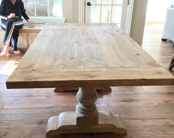 """Pedestal Trestle Table with 2"""" Thick Top"""