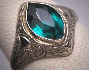 Antique Emerald Ring White Gold Art Deco Wedding Ostby Barton Titanic