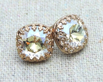Swarovski Crystal Moonlight Crown Rose Gold Post Earrings, Iridescent Cushion Cut Square, Bridal Wedding Jewelry Bridesmaids Ask Gifts