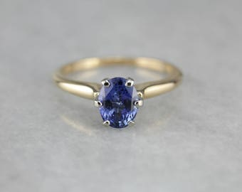 Simple Sapphire Engagement Ring, Sapphire Solitaire, Anniversary Ring LNU8A3-R