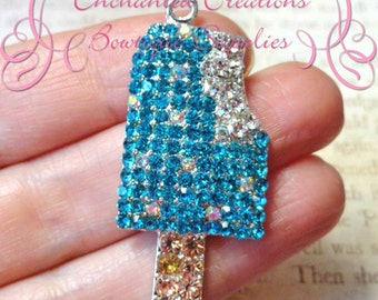 48mm Aqua Popsicle Rhinestone Pendant, Summer Theme, Zipper Pull, Keychain, Bookmark