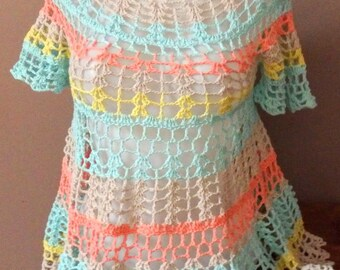 Crocheted Tunique, Top, small sleeves