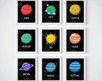 Solar system-Planets prints-Space Themed Nursery-Educational-Boys room decor-Nursery decor-Space-Universe-Planets printable