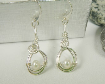 Fine Silver with White Pearls, Dangle Earrings, Argentium Sterling Silver