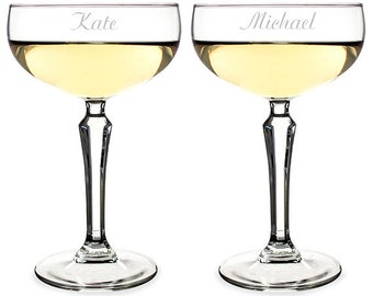 Personalized Coupe Champagne Glasses-Engraved Wedding Toasting Glasses