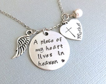 Personalized Memorial Necklace, A Piece of My Heart Lives In Heaven, Remembrance Jewelry, Memorial Necklace, Loss of Loved One, Custom Name