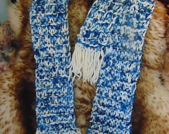 """Mother-Daughter matching scarf set. Blue and white fun fur/eyelash hand knitted scarves. Very warm and stylish. 70"""" x 5"""" and 40"""" x 3.5""""."""