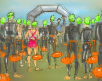 Art print - 'Green Hats are Ready To Go!' - open water swimming, wild swimming, A4 or A3 size.