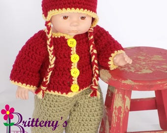 Baby Doll Clothes  Crochet Baby Doll Clothes  Crochet Baby Doll Red Yellow Cardigan Sweater Ear Flap Hat Boots Tan Boots Baby Doll Clothing