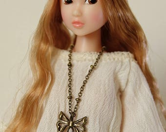 Lotus necklace  (round filigree) - Handmade jewerly for Momoko and 1/6 fashion dolls (7 colors)