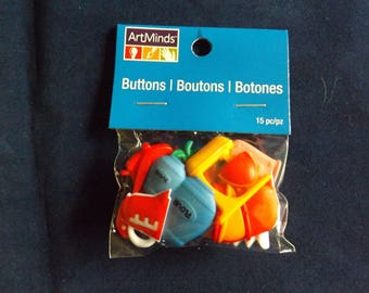 15PC Kitchen & Cooking Buttons and Embellishments - Art Minds