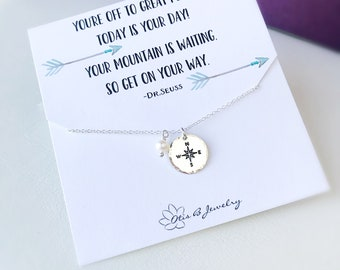 Compass necklace with freshwater pearl on message card, Graduation gift, bridesmaid, retirement, handstamped, dainty necklace, otis b