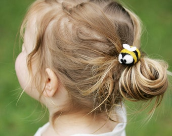 Bumble Bee Honey Bee Hair Tie Cute Insect Felted Wool Bobble Elastic Loop For Ponytail Needle Felting The Bug