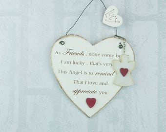 Personalised BFF Plaque Friend None Come Heart & Keyring 22cm Sign F1326E/C