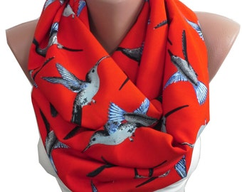 Bird Scarf Red Scarf Animal Infinity Scarf Mothers Day Gift For Mom Gift For Women Birthday Gift For Her Spring Accessories Circle Scarf