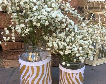 Mason Jar Wrap, Zebra Print & Burlap, Gold Zebra Print, Jar Decoration, Shower, Party, Wedding, Centerpiece, Decoration