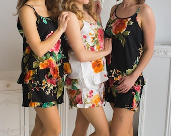 Frilly Style Pj Sets in Black Large Floral Blossom Pattern