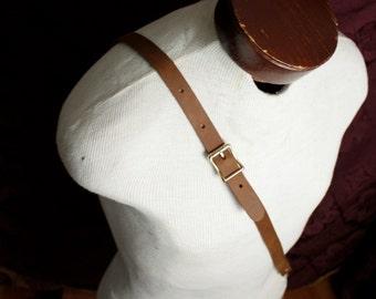 Leather Suspender - Single Shoulder Bandolier, Browncoat, Steampunk, purse strap, Brown or black Braces , Brass, purse shoulder strap