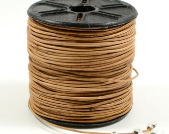 Natural Light Brown Leather Cord, 0.5mm, Genuine Leather Cord, Round Leather Cord, Lead Free, RETAIL - 1 YARD/ order