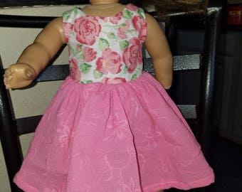 Pink floral doll dress- Fits American Girl- 18 inch dolls- NEW!