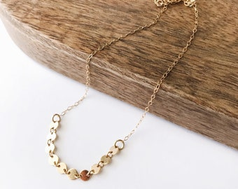 Winlock Necklace in gold - simple and dainty gold filled disc necklace