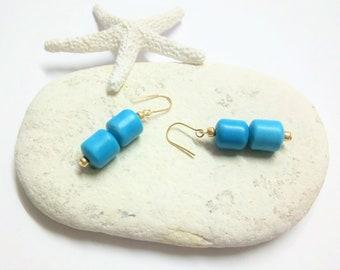16k Gold Earrings, Turquoise Earrings, Small Gold Earring, Something Blue, Bridal Earrings, Minimal Earring, Wedding Earring, Dainty Earring