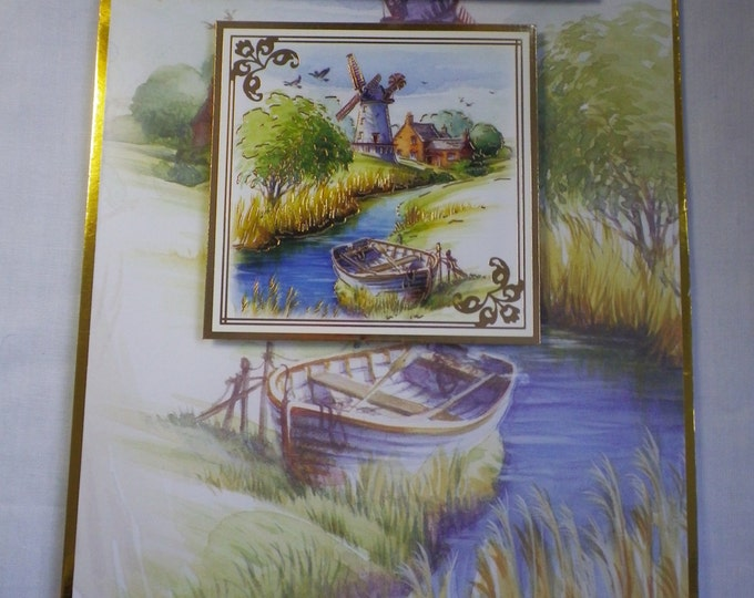 Boat and River Scene, Retirement Card, Greeting Card, Countryside, Male or Female, Mum, Dad, Brother,Sister