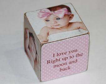 Baby Girl Wooden Block .  Vintage Pink Wooden Block . Personalized Wooden Blocks .