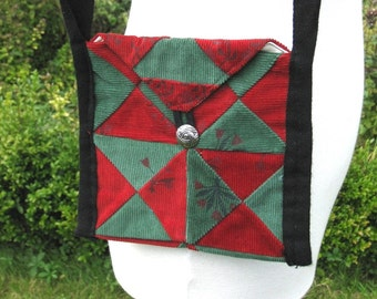 Green and Red Corduroy Patchwork Purse