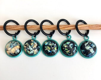 Black and Turquiose Stitch Markers