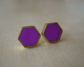 purple mini brass hexagon stud earrings