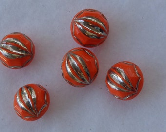 1960's Orange & Silver Buttons