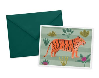 Jungle Cat Art, Tiger Card, Tiger, Birthday Card, Hand painted Birthday, Tiger Art, Tiger Illustration