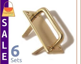 "On Sale : 1 Inch Strap Rings / Loops, Prong Applied, Gold Finish, 6 Sets, Handbag Purse Bag Making Hardware Supplies, 1"", RNG-AA191"