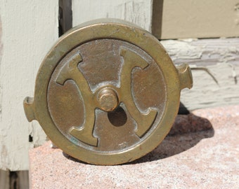 Antique Heavy Brass Fire Hydrant Cap