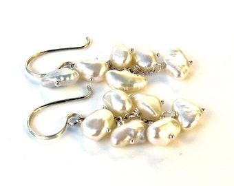"""Keishi Pearl Cascade Earrings, Keshi Pearl Earrings, White Keishi Earrings, """"Bellissima"""" Pearl Chandelier Earrings in Sterling"""