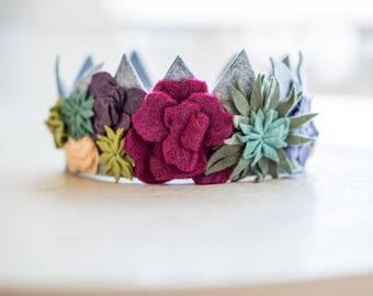 Floral Crown, Flower Crown, Succulent Crown, Crown, Felt Crown, Girl Crown, Photo Prop