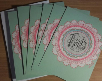 Pretty 'Thanks' cards. Pack of 6 with envelopes
